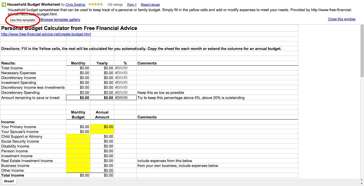 google budget template