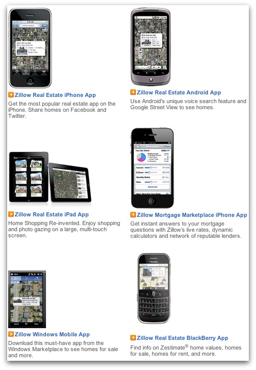 Zillow mobile apps