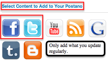 Connecting social accounts to postano