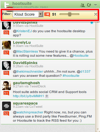 HootSuite Klout Filter