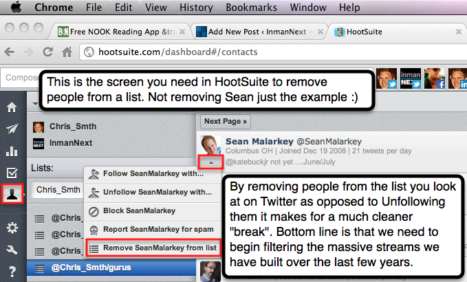Removing from a list in HootSuite