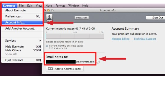 Where to find your Evernote Email Address