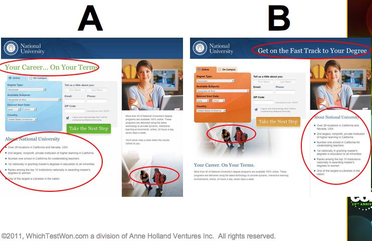 university landing page test