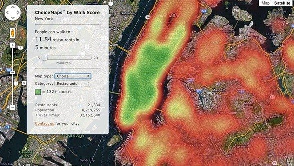Walk Score 'ChoiceMaps' show depth of neighborhood amenities