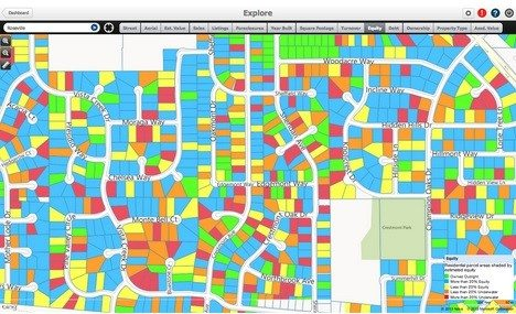 """Screen shot of PropertyRadar in """"explore"""" mode."""