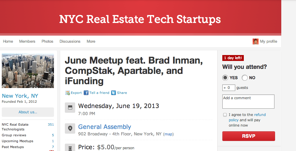 Real estate tech startup gathering to be held in NYC tomorrow