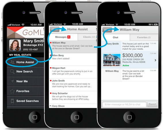 Screen shot of GoMLS 2.0 app with Home Assist