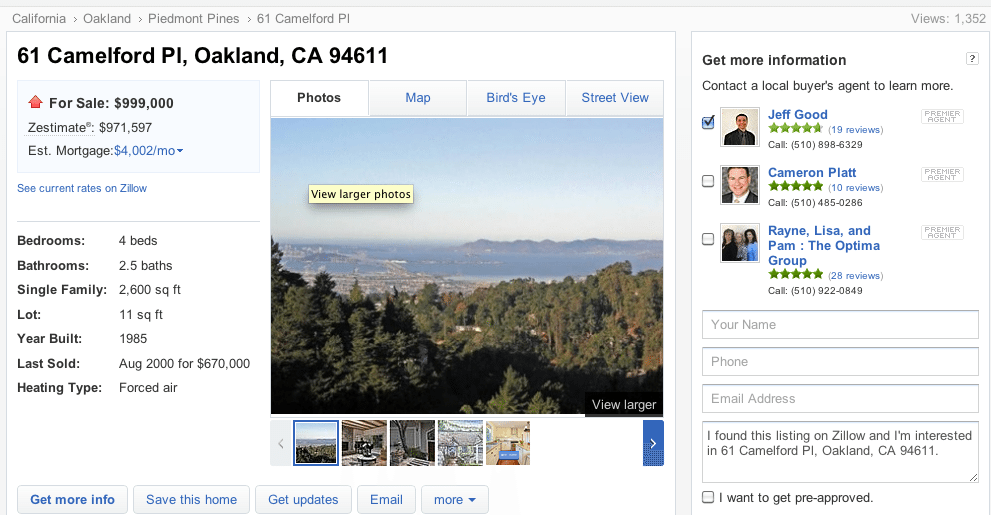 Oakland, Calif. for-sale property detail page on Zillow that Jeff Good shows up on.