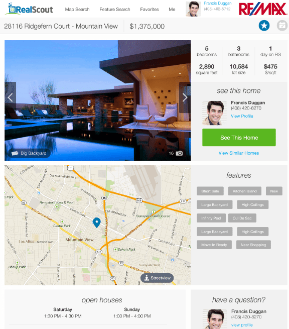 An agent-branded RealScout property detail page
