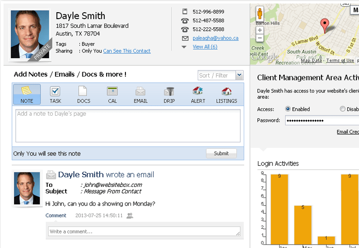 WebsiteBox lead-capture tool allows agents to track potential clients' activity