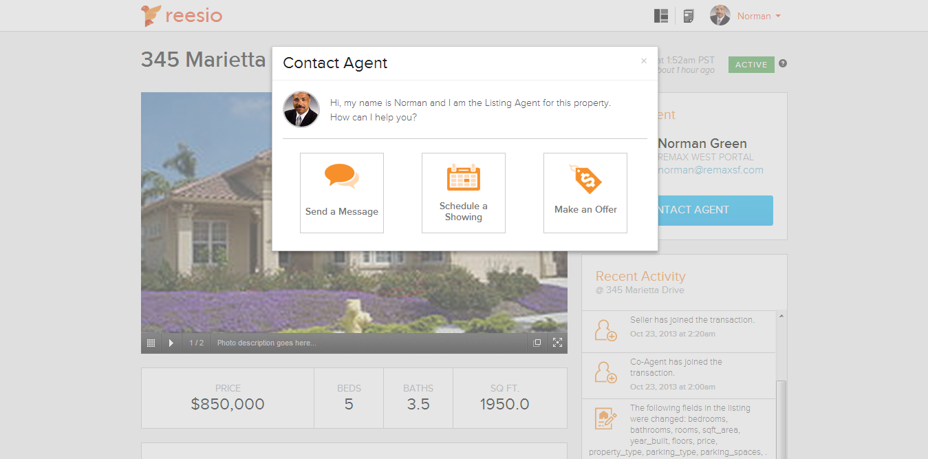 Sample screen shot of Reesio public listing page contact options