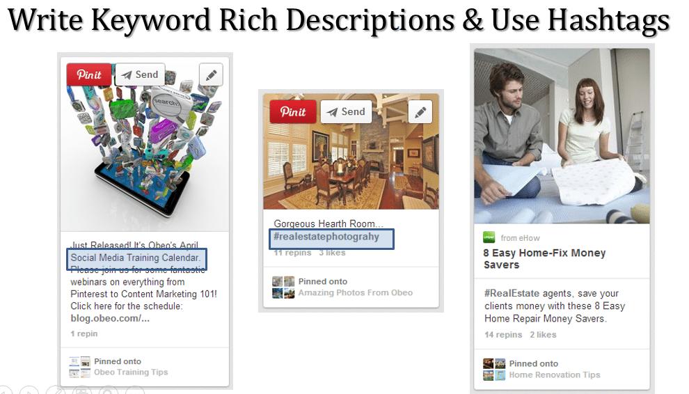 Give pins keyword rich descriptions