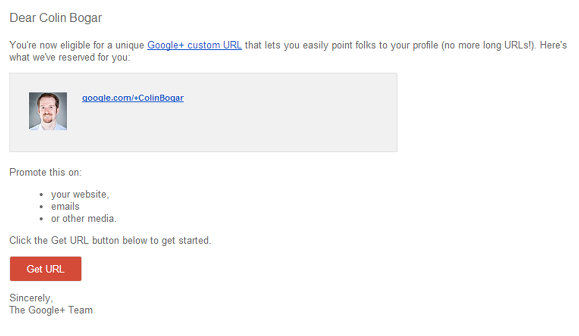 Google+ Custom URL Invitation
