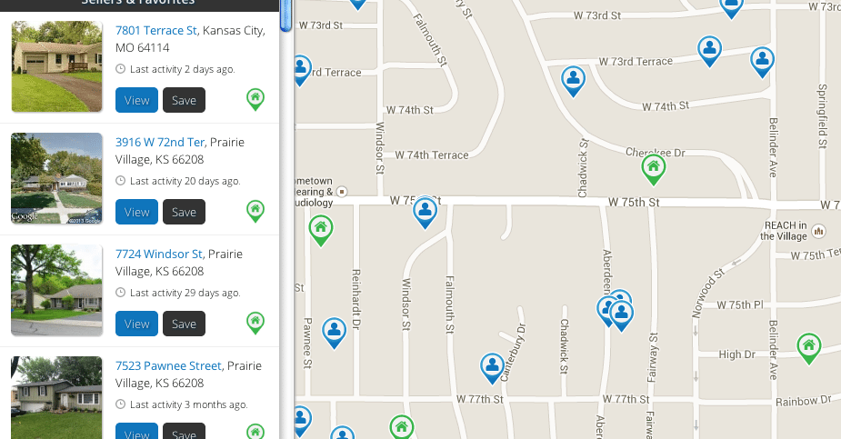 Screen shot of the map view of Keyzio's app.