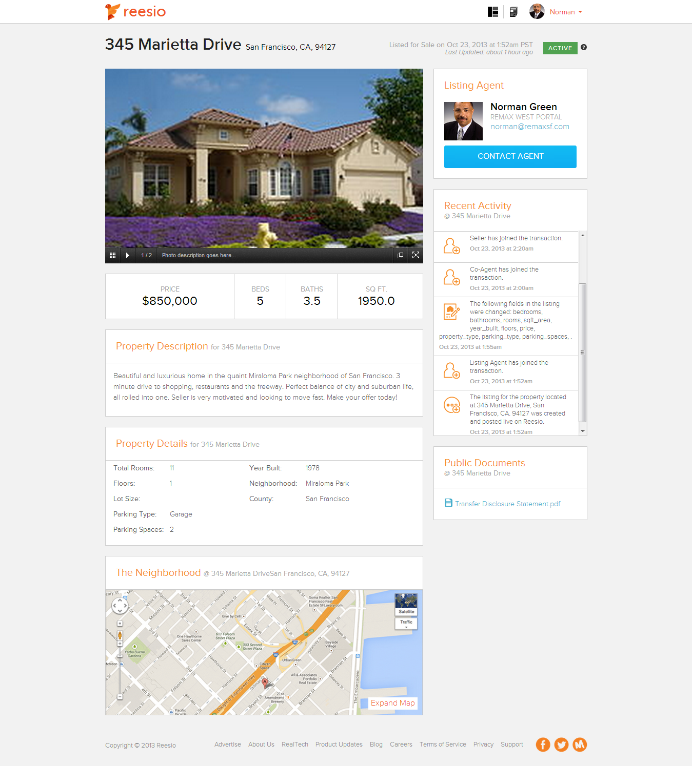 Sample screen shot of Reesio public listing page