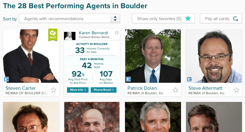 Screen shot of search for agents in the Boulder, Colo., market using realtor.com's  AgentMatch.