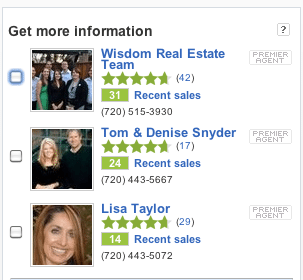Agents' recent sales highlighted, along with their ratings and reviews, in their ad info on Zillow.