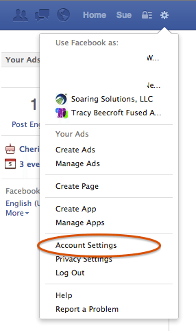 Account settings in Facebook