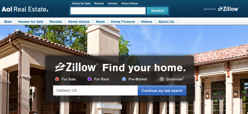 Zillow, AOL Real Estate make partnership official