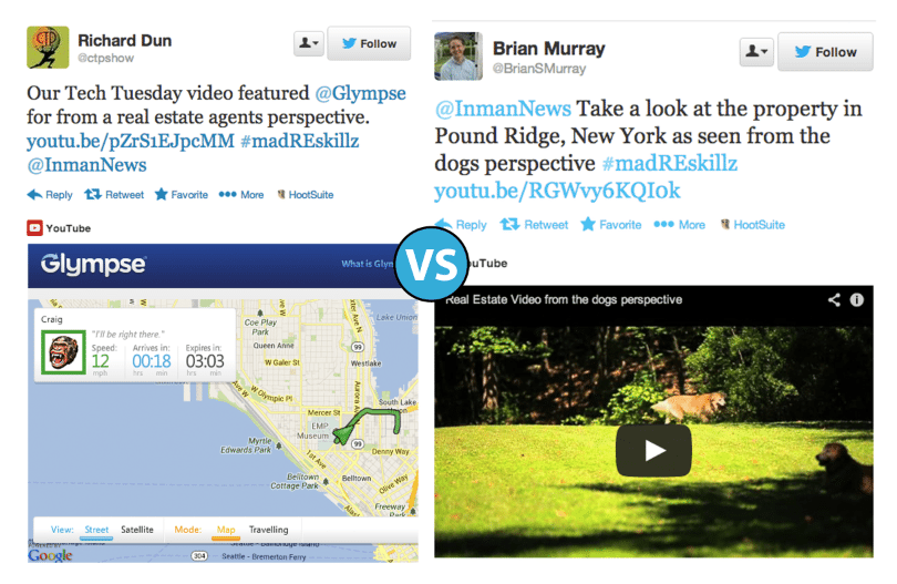 Golden retriever-hosted video vs. location sharing via Glympse