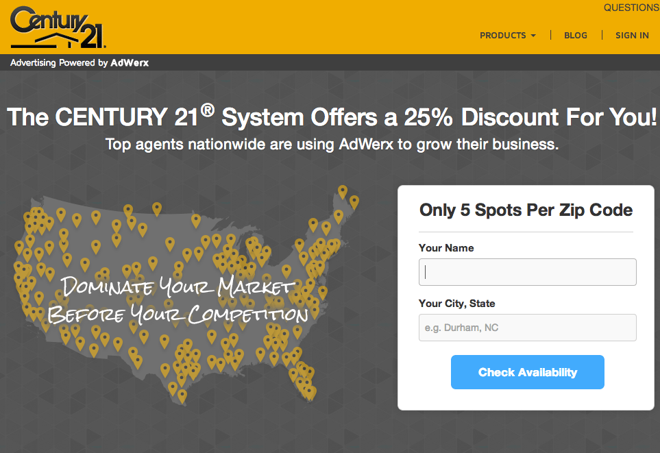 Screen shot of Century 21 Real Estate's AdWerx site.