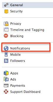 Facebook settings notifications
