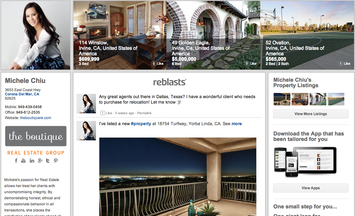 Consumer view of agent Michele Chiu's RESAAS page.