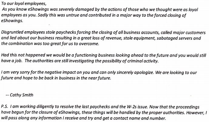 A Feb. 19 email from Cathy Smith to eShowings' employees