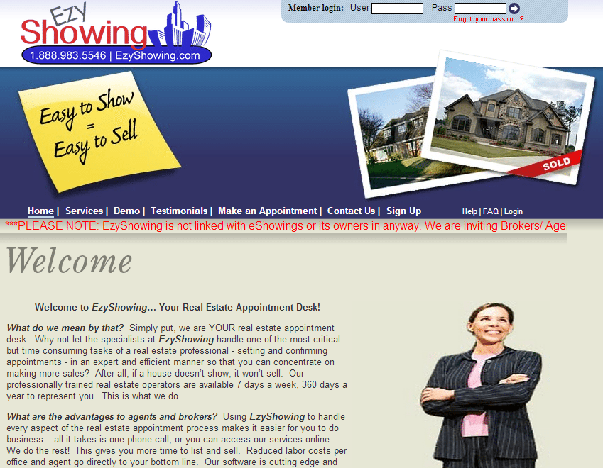 EzyShowing home page
