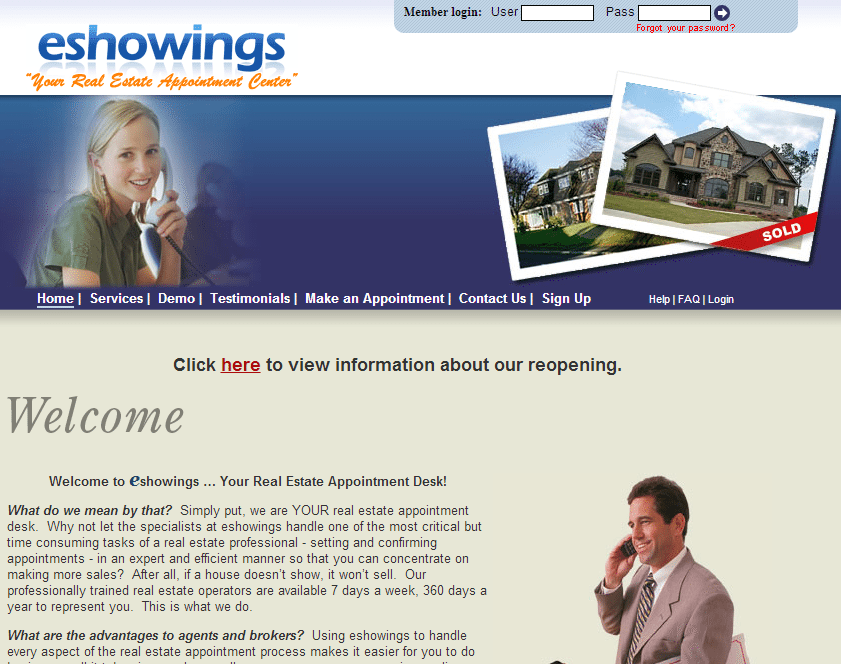 Former eShowings home page