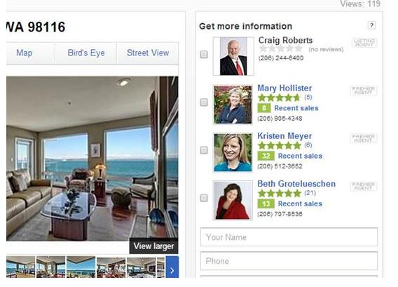 zillow agents screen shot