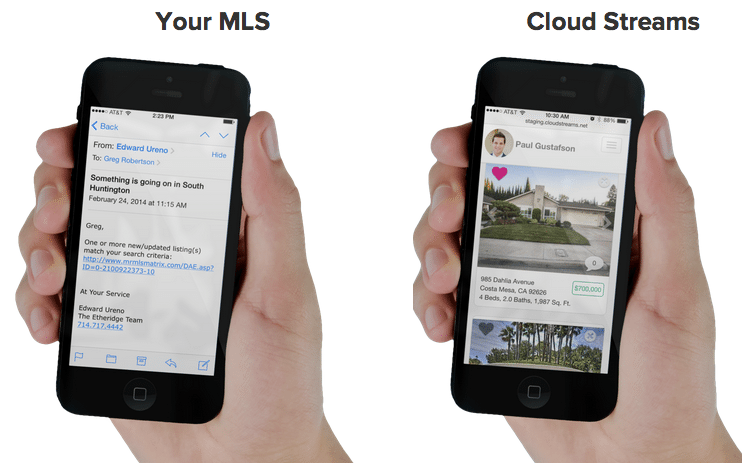Screen shot comparing a Cloud Streams listing alert with one from an MLS.