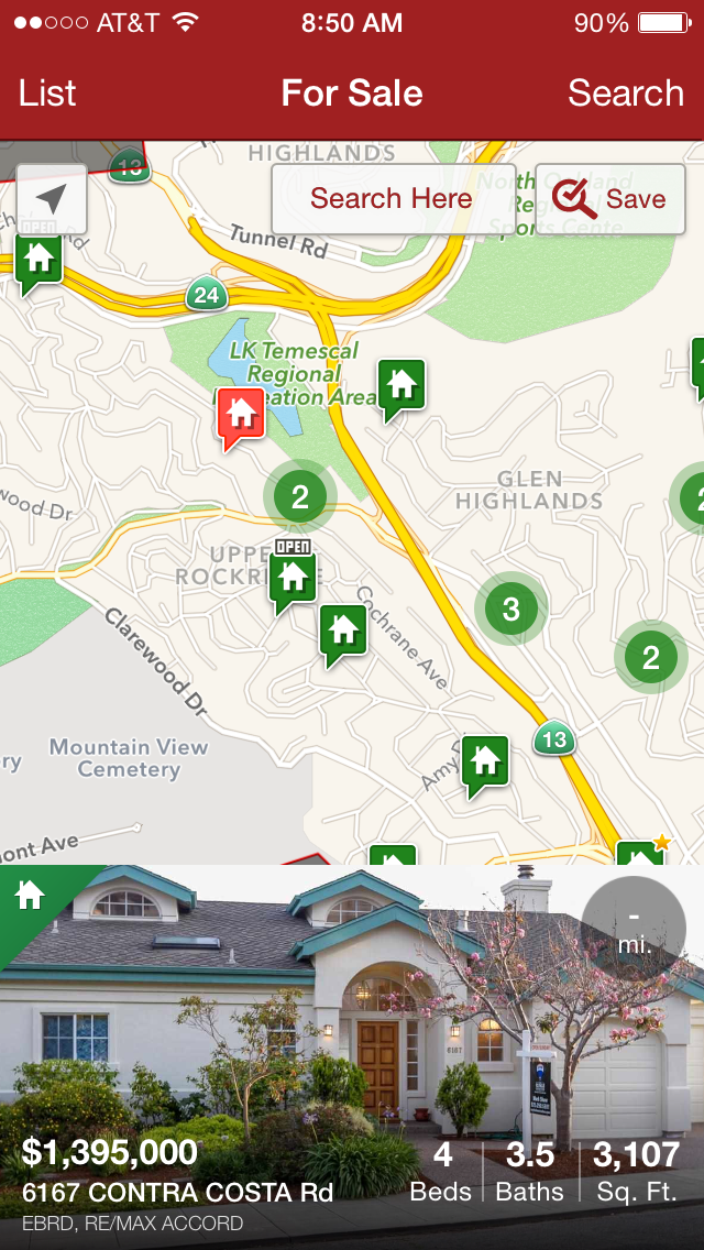 Screen shot of Redfin's new mobile app showing the new home-search display feature.