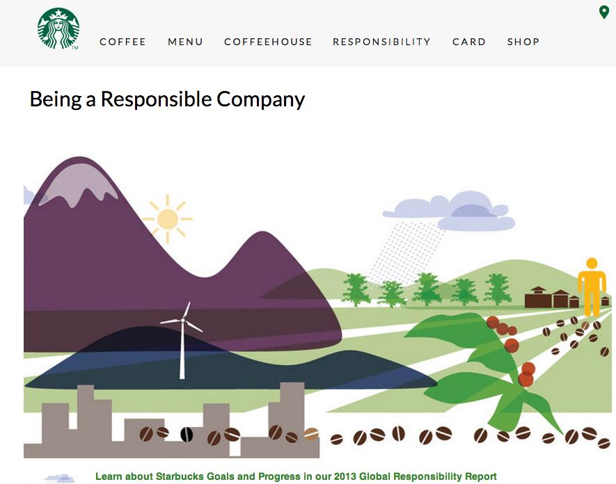 Screenshot from Starbucks website