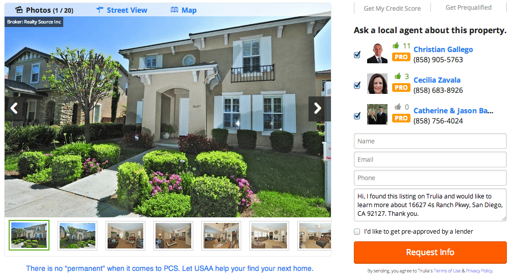 Screen shot showing agent ads next to a listing on Trulia.