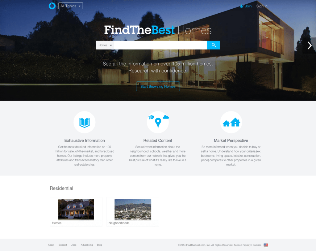 FindTheBest Homes blends neighborhood and listing search