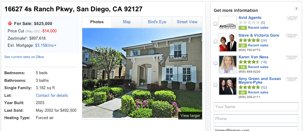 Screen shot showing agent ads next to a listing on Zillow. One agent is the listing agent.