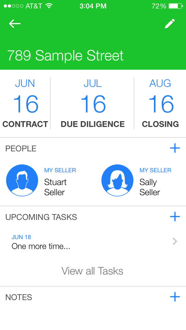 Business events section groups all tasks, people and notes in one place for each deal.