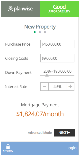 "New ""simple"" view of Planwise's affordability tool."