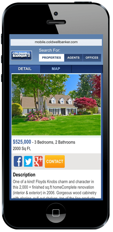 Sample of a RealtyBeacon-signaled website.