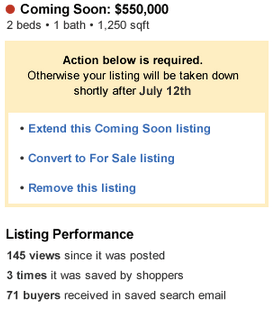 "Screen shot of a sample Zillow ""coming soon"" report sent to agents biweekly."