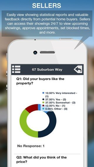 Screen shot of Showing Suite mobile app