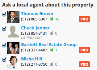 Jenner now shows up prominently in the agent contact list on his listing on Trulia after claiming the listing.