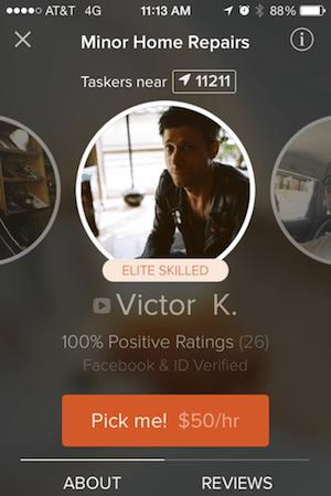 Screenshot of TaskRabbit's iPhone app showing a handyman
