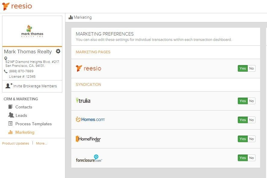Screen shot of Reesio listing syndication dashboard.