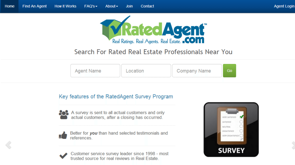 RatedAgent.com home page, recently revamped with responsive design
