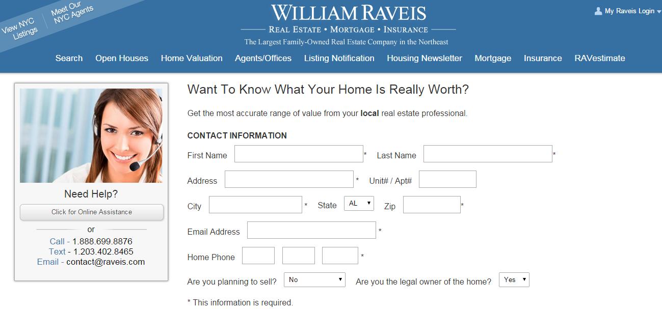 William Raveis RAVestimate lead form