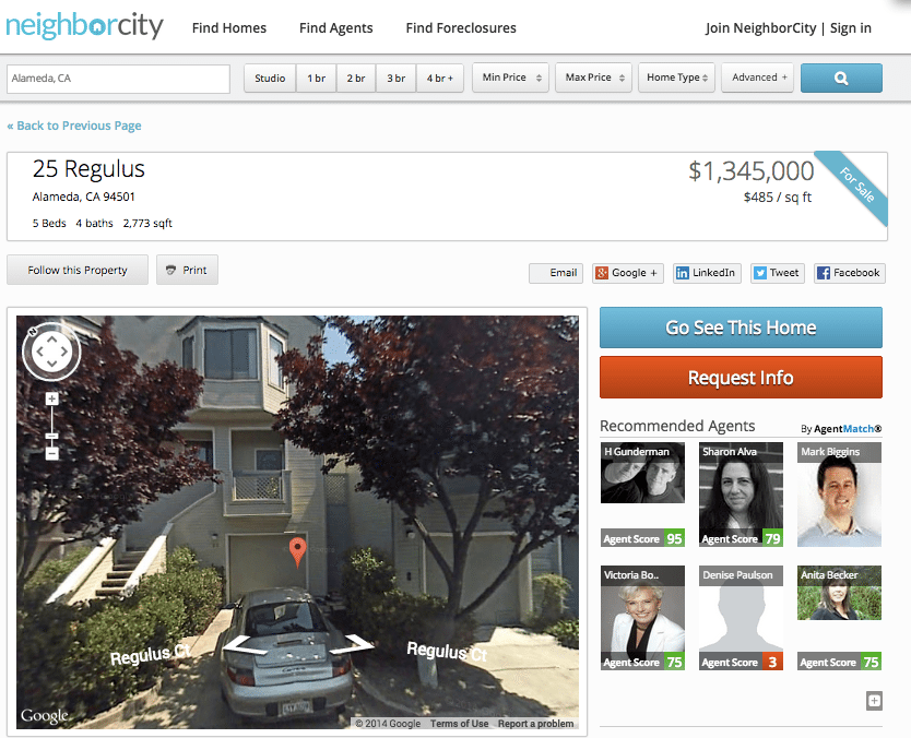 Screen shot of a listing on NeighborCity