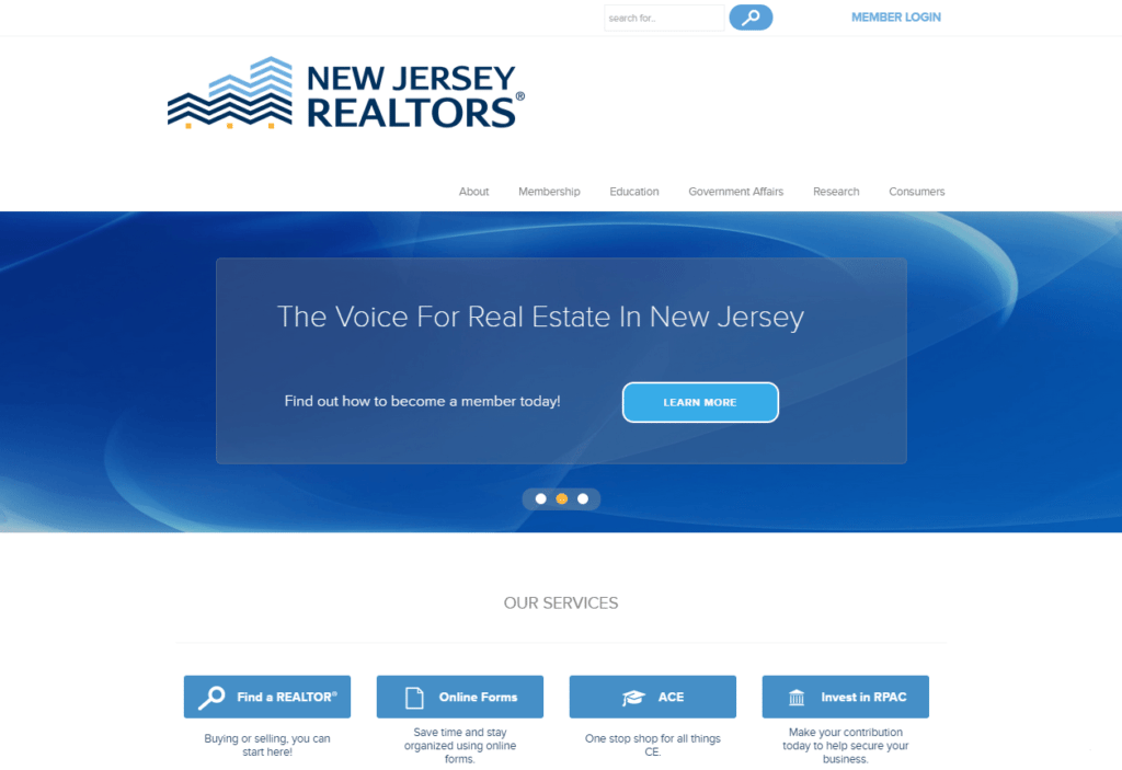 Screenshot of the New Jersey Realtors' homepage