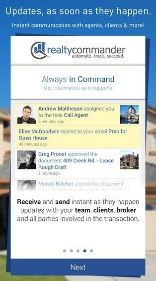 Screen shot of Realty Commander Mobile app from iTunes.